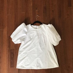 Anthropologie New White Puff Sleeve Swing Top XL